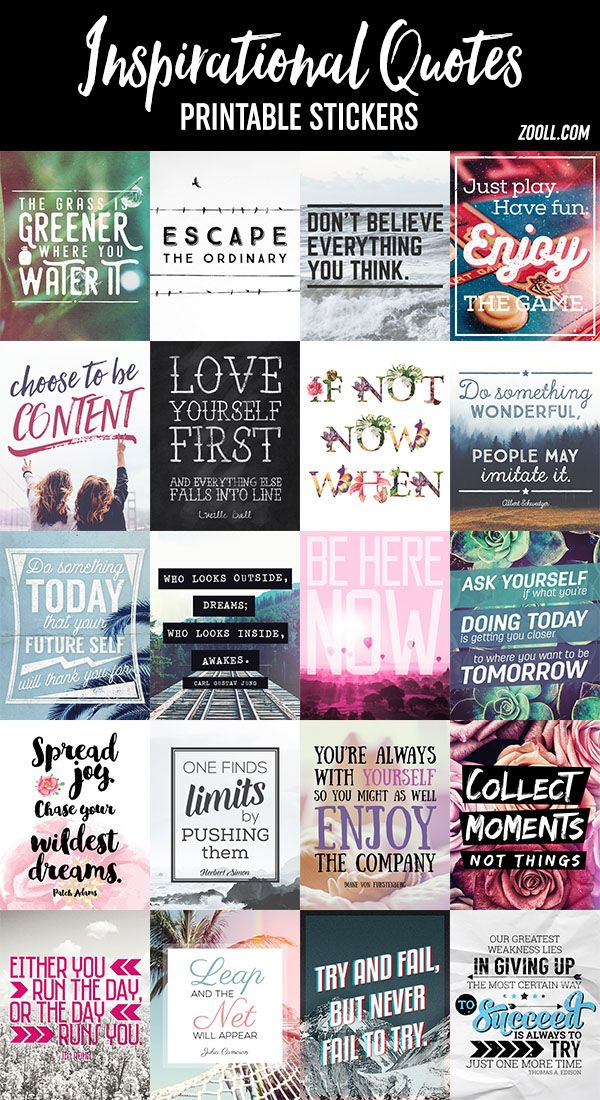 Printables Inspirational Quotes Printable Stickers Planners