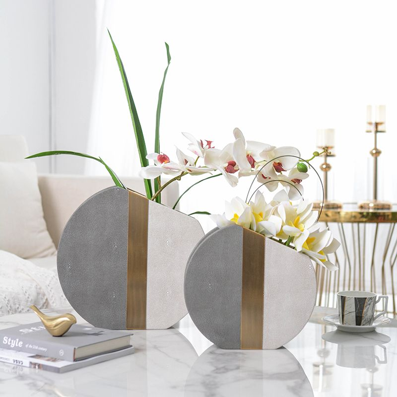 Perfect Combination Of Metal And Gray Leather Vase Modern Living Room Desktop Gold Semicircle Flower Leather Vase Modern Living Room Vase Modern