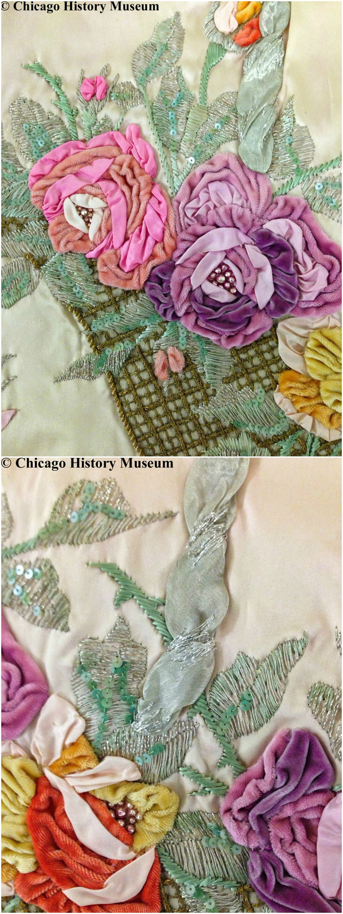 Detail shots of court presentation gown and train, by Jacques Doucet, 1926, collection of the Chicago History Museum. Worn by Mary Dudley Kenna. Photos by Katy Werlin on The Fashion Historian Blog.