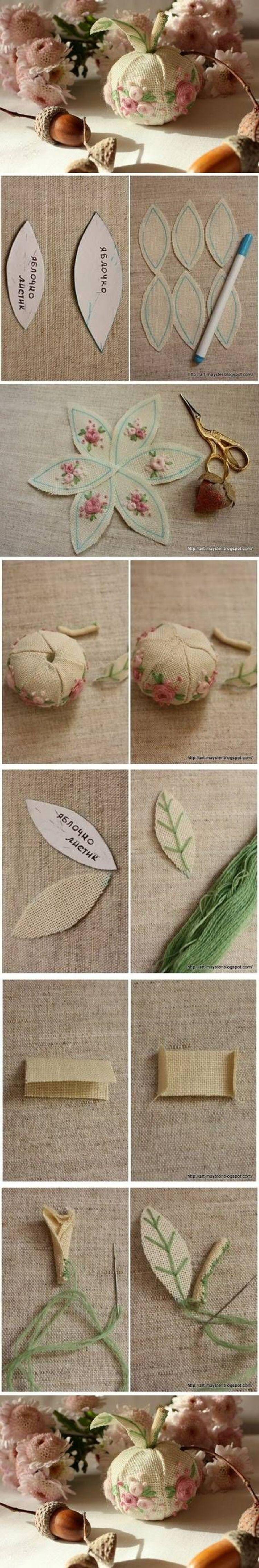 "I ❤ pincushions . . . DIY Fabric Apple Decor- ""the shape looks kind of like one to me"""