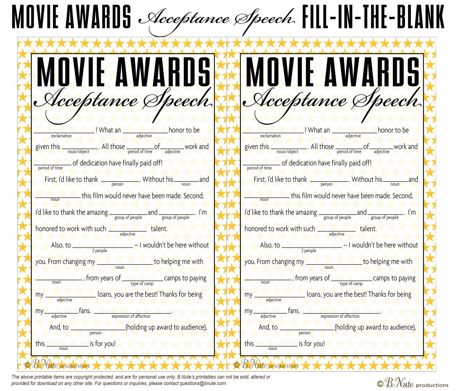 Free Printable Oscar Party Game Acceptance Speech Fill In The
