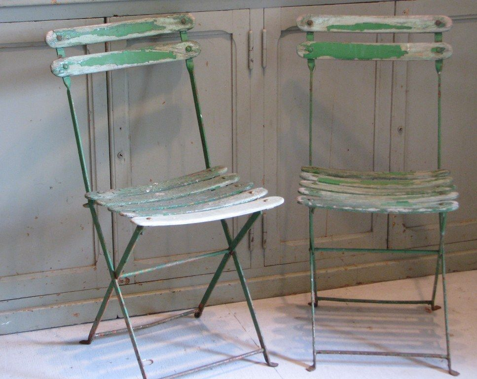 Pair Of Vintage French Wooden Slat Folding Garden Chairs 250 Home
