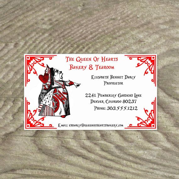 Name Cards Alice In Wonderland Queen Of Hearts Premade By OldPaperAndPrints 1299