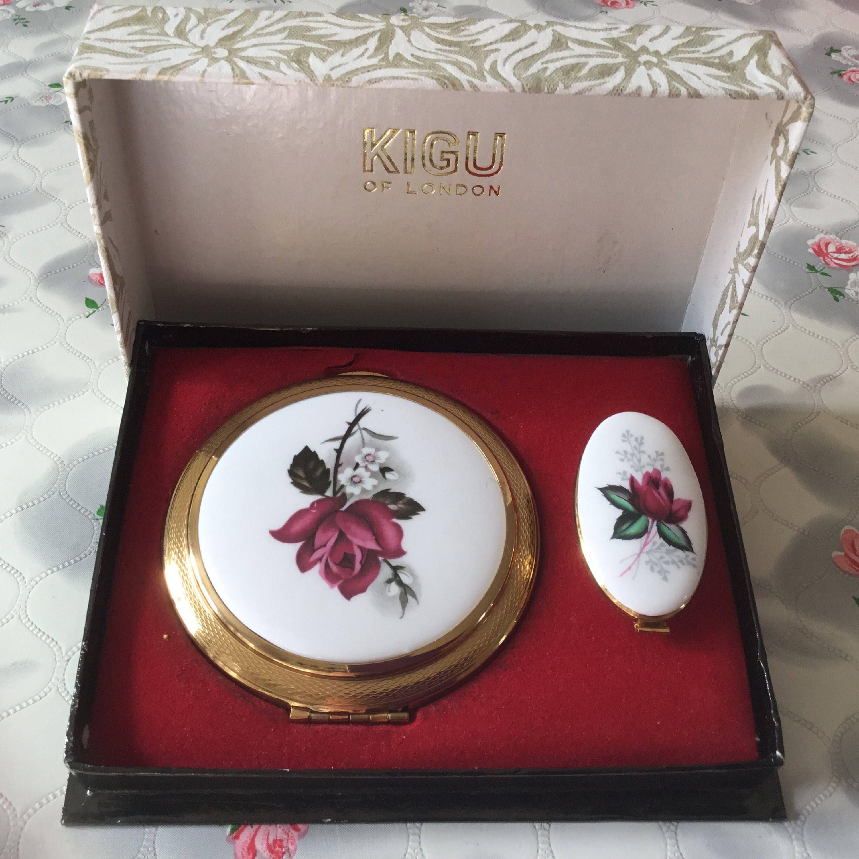 French vintage vanity mirror lipstick holder Vintage Coty Cream Powder compact mirror with lipstick holder