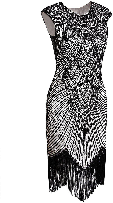 94717fccbb7 Amazon.com  Vijiv Art Deco Great Gatsby Inspired Tassel Beaded 1920s  Flapper Dress