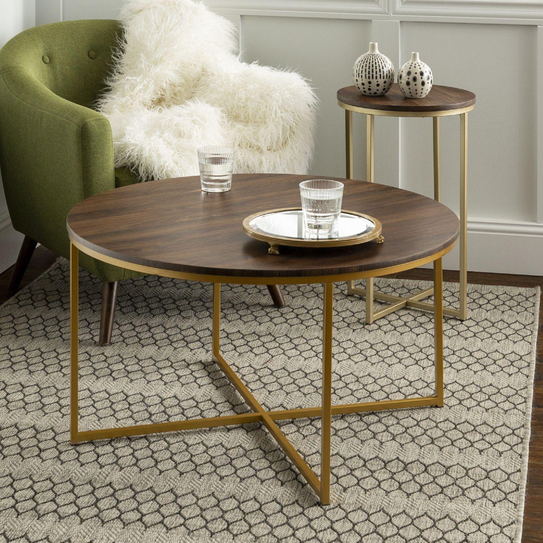 Walker Edison Gaf36aldwg 2 Piece Round Coffee Table Set Dark Walnut Gold In 2020 Round Coffee Table Sets Coffee Table Coffee Table Setting
