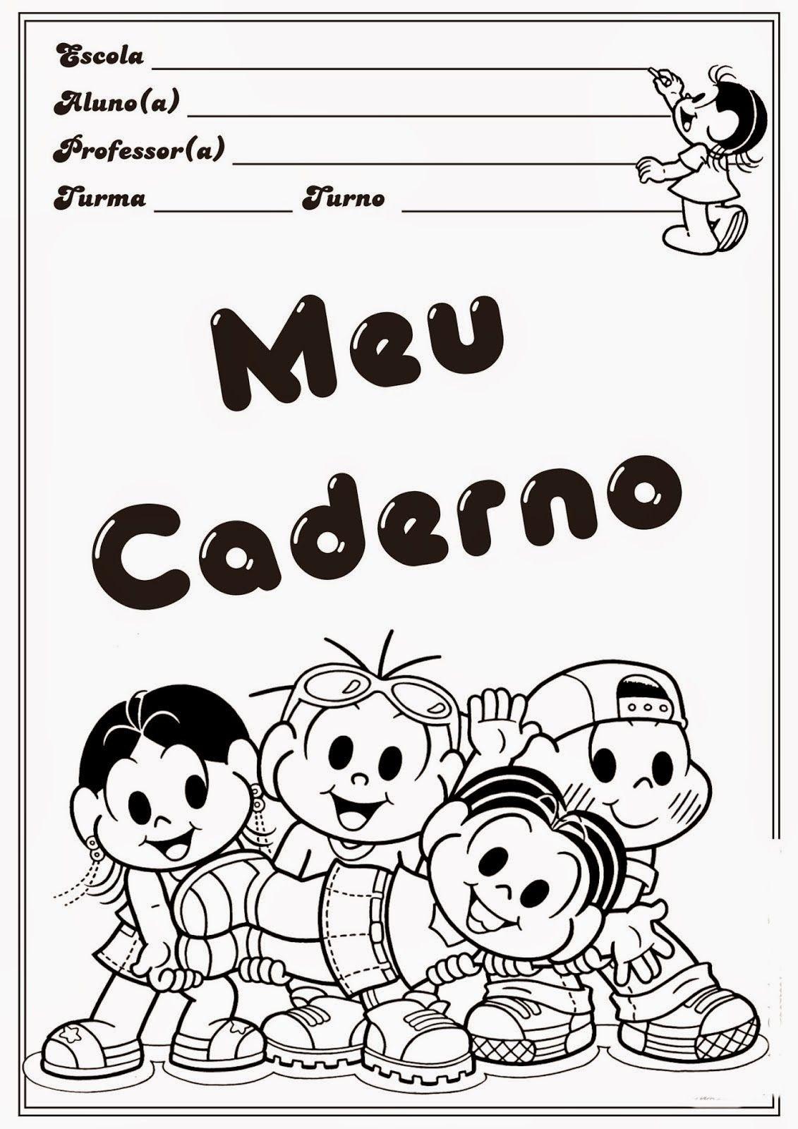 Capa De Caderno Turma Da Monica Para Colorir Jpg 1131 1600