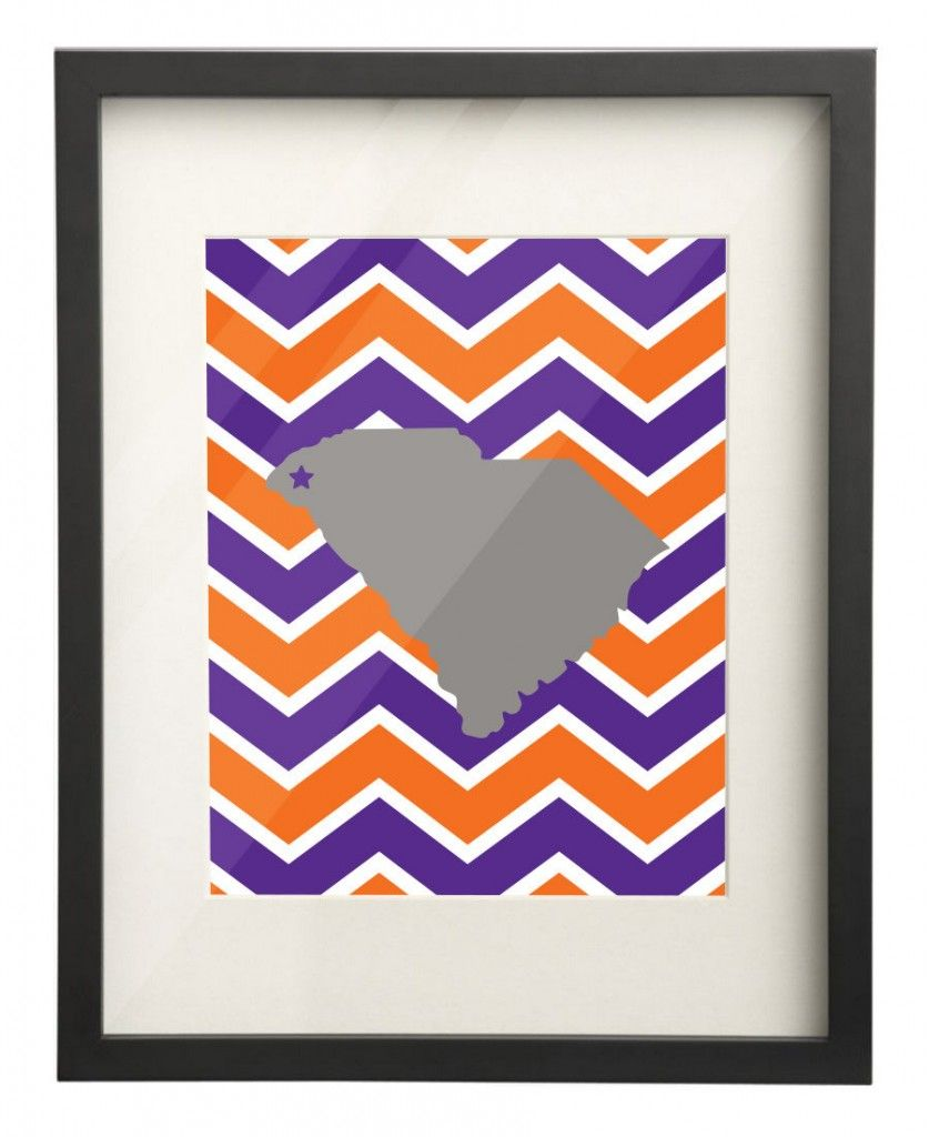 Clemson State Map 8x10 Print $15.00 Etsy. Use: PIN10 for 10% OFF!  | #PaperFreckles #clemson #clemsontigers #southcarolina