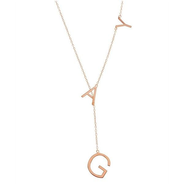 Rose Gold Vermeil Gay Lariat Necklace 44 liked on Polyvore