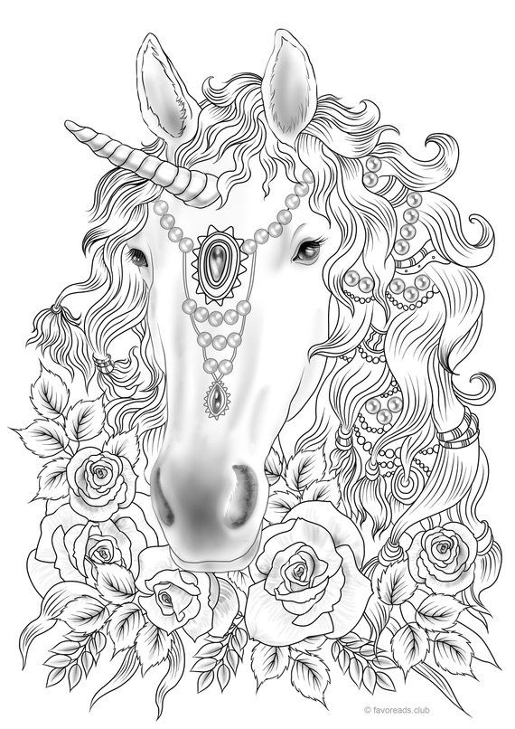Unicorn Printable Adult Coloring Page From Favoreads