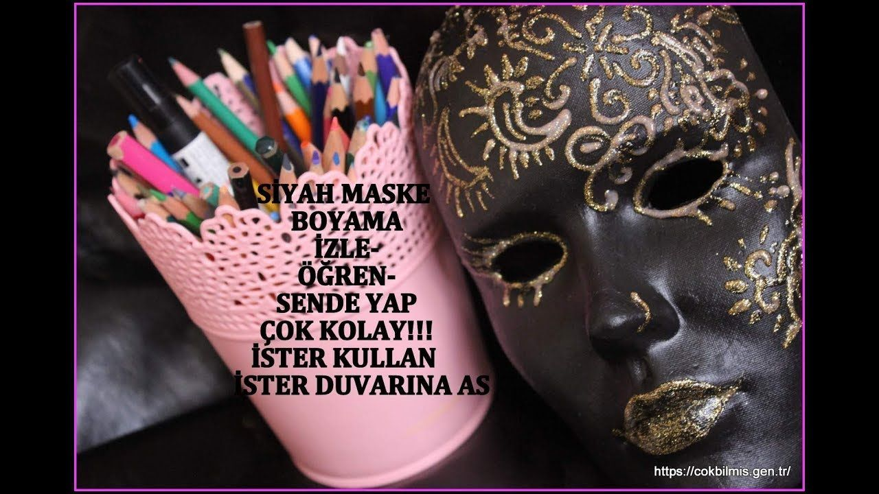 Maske Boyama Siyah Maske Uzerine Altin Renkli Boyutlu Boncuk Ile