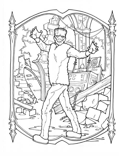 Frankenstein Coloring Page Halloween Coloring Pages Halloween Coloring Coloring Books