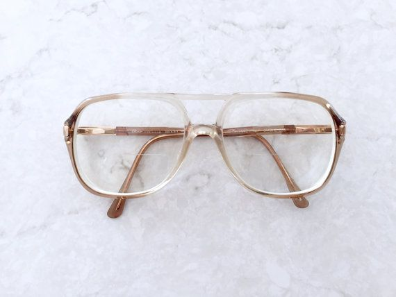 86571b289f 70s Ombre Two Tone Eyeglasses   Unisex Oversized Prescription Eye Glass  Frames w Gold Accents