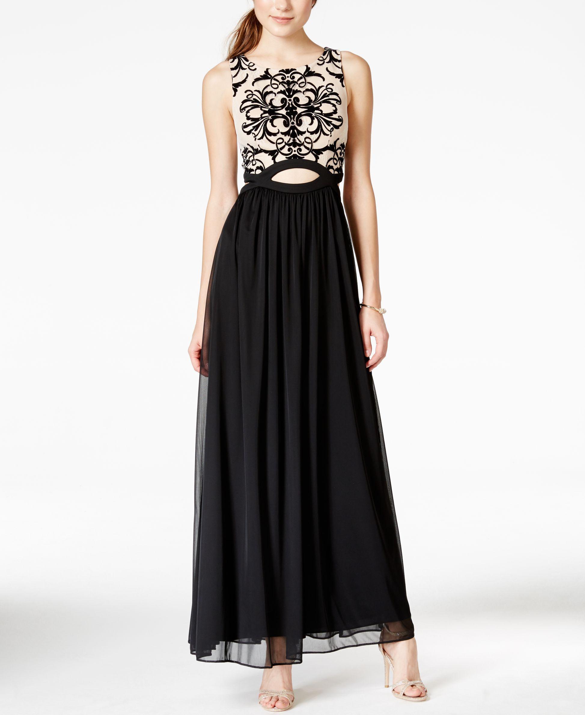 Blondie nites juniorsu flocked lace cutout gown products