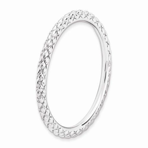Stackable Rhodium Plated Sterling Silver Criss Cross Band