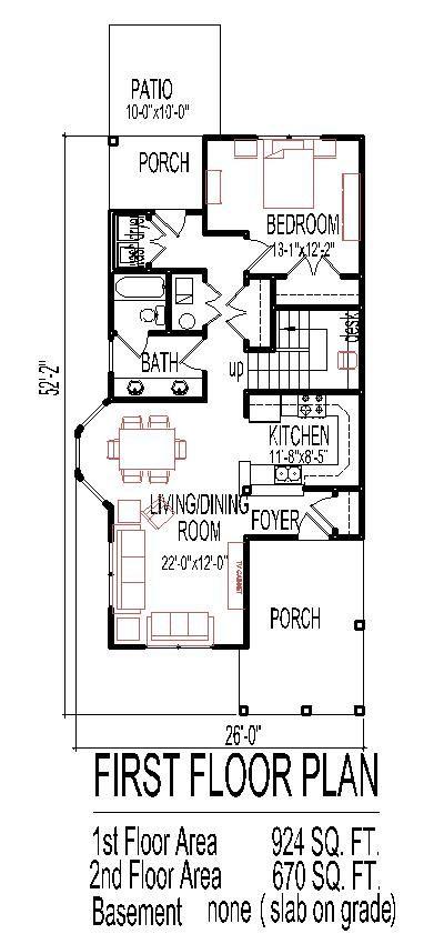 2 Story 4 Bedroom House Plans Narrow House Plans Floor Plan 4