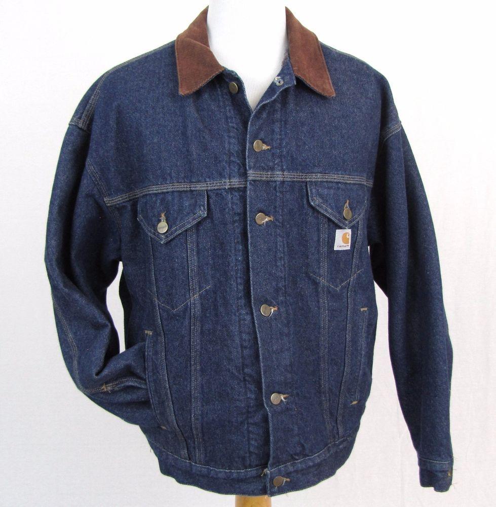 Carhartt denim jean jacket blanket lined mens
