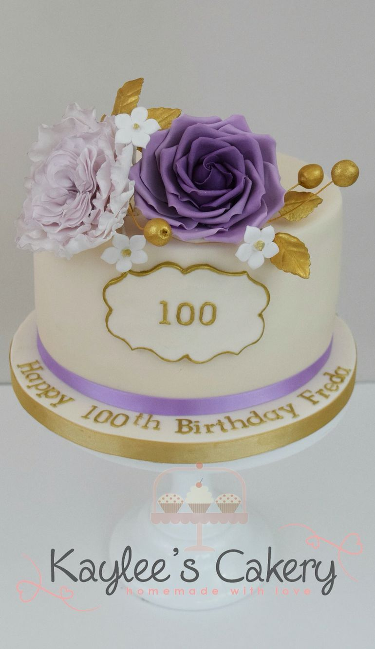 100th Birthday Cake With Rose And David Austin Rose In Mavue