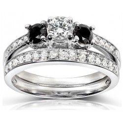 Glittering 1 Carat Black and White Round Diamond Wedding Ring Set in White Gold