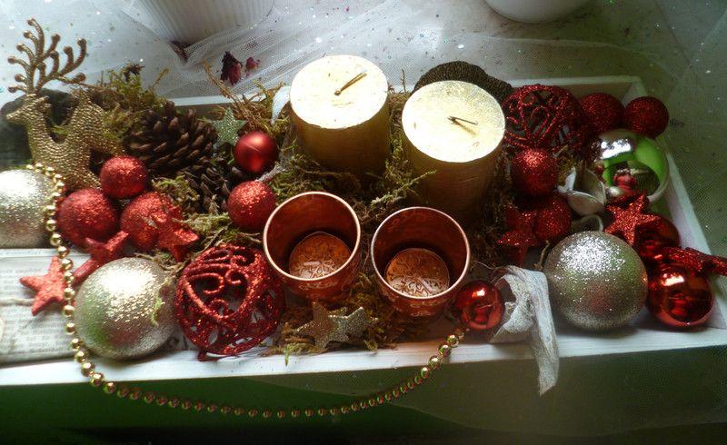 weihnachtsdeko adventskranz rot gold ein designerst ck. Black Bedroom Furniture Sets. Home Design Ideas