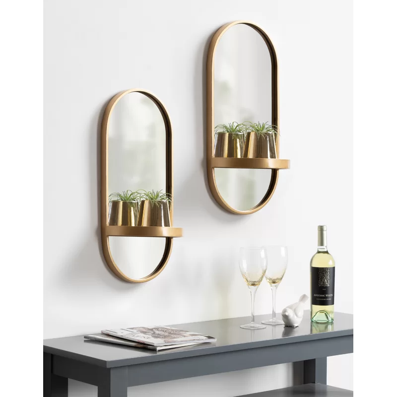 Mercer41 Ryland Accent Mirror With Shelf Reviews Wayfair Mirror With Shelf Wall Mirror With Shelf Mirror Wall