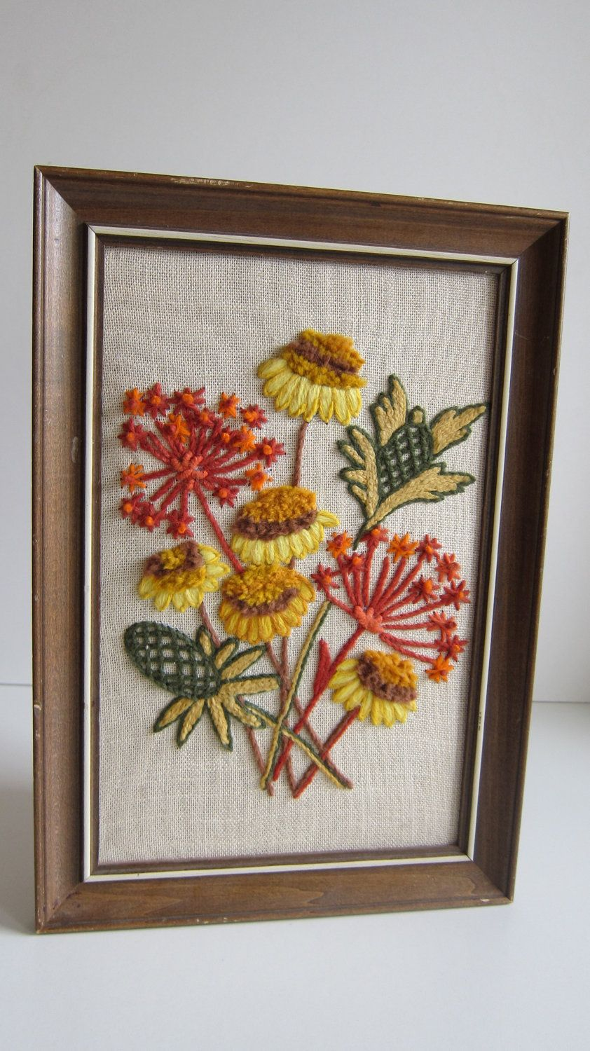 Vintage art embroidered flower bouquet yarn art color yellow blue