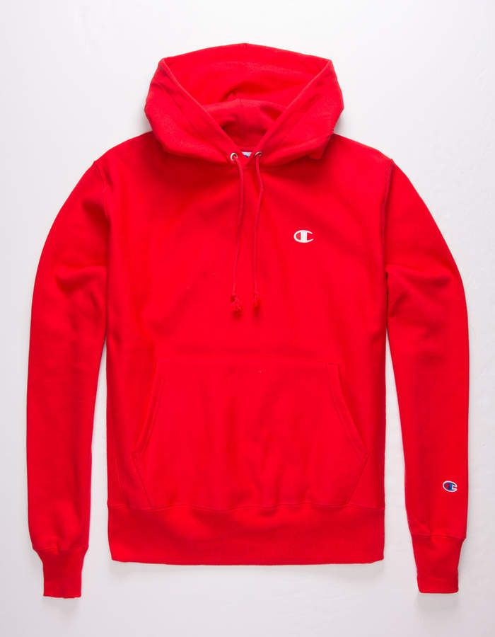 CHAMPION Reverse Weave Team Red Mens Hoodie - RED - 348830300