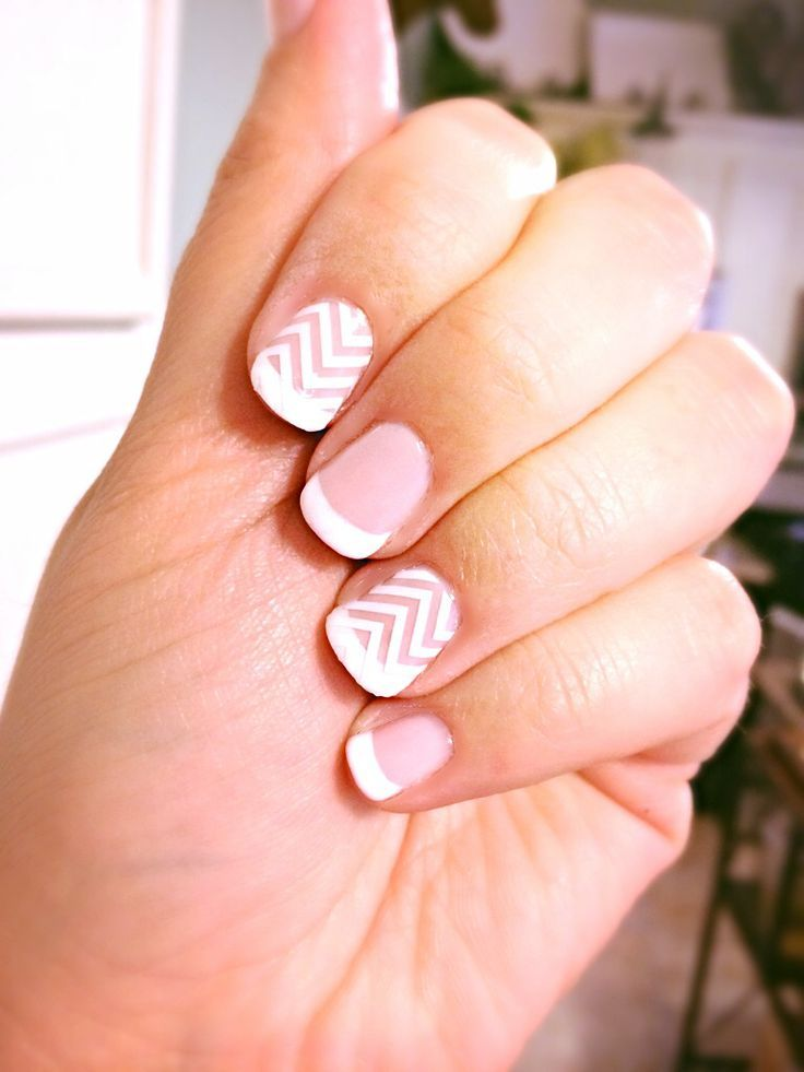 Gelish French Manicure with Jamberry White Chevron accent nails by ...