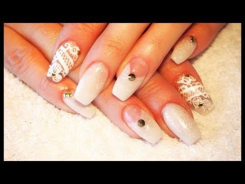 Acrylic Nails ~ White Shimmer and Hand Painted Lace Design - YouTube