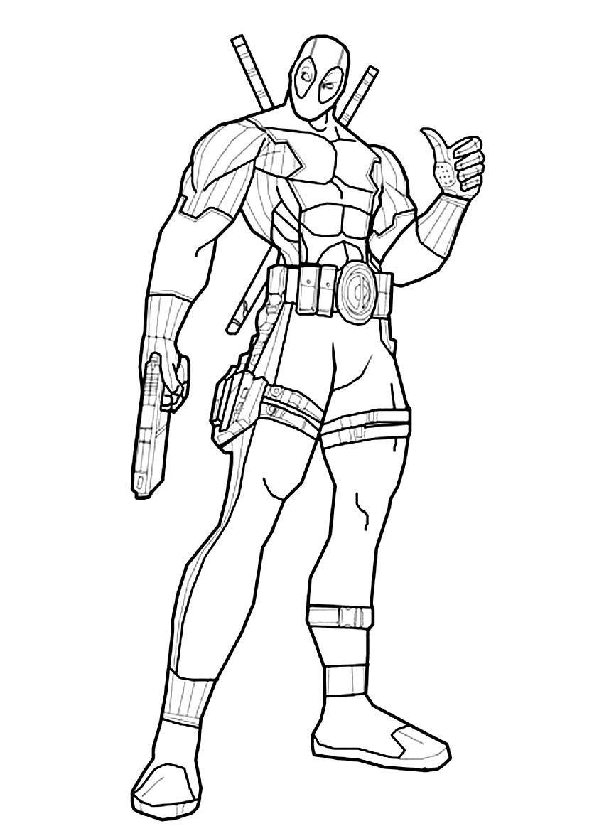 Ausmalbilder Deadpool zum Ausdrucken  Chibi coloring pages