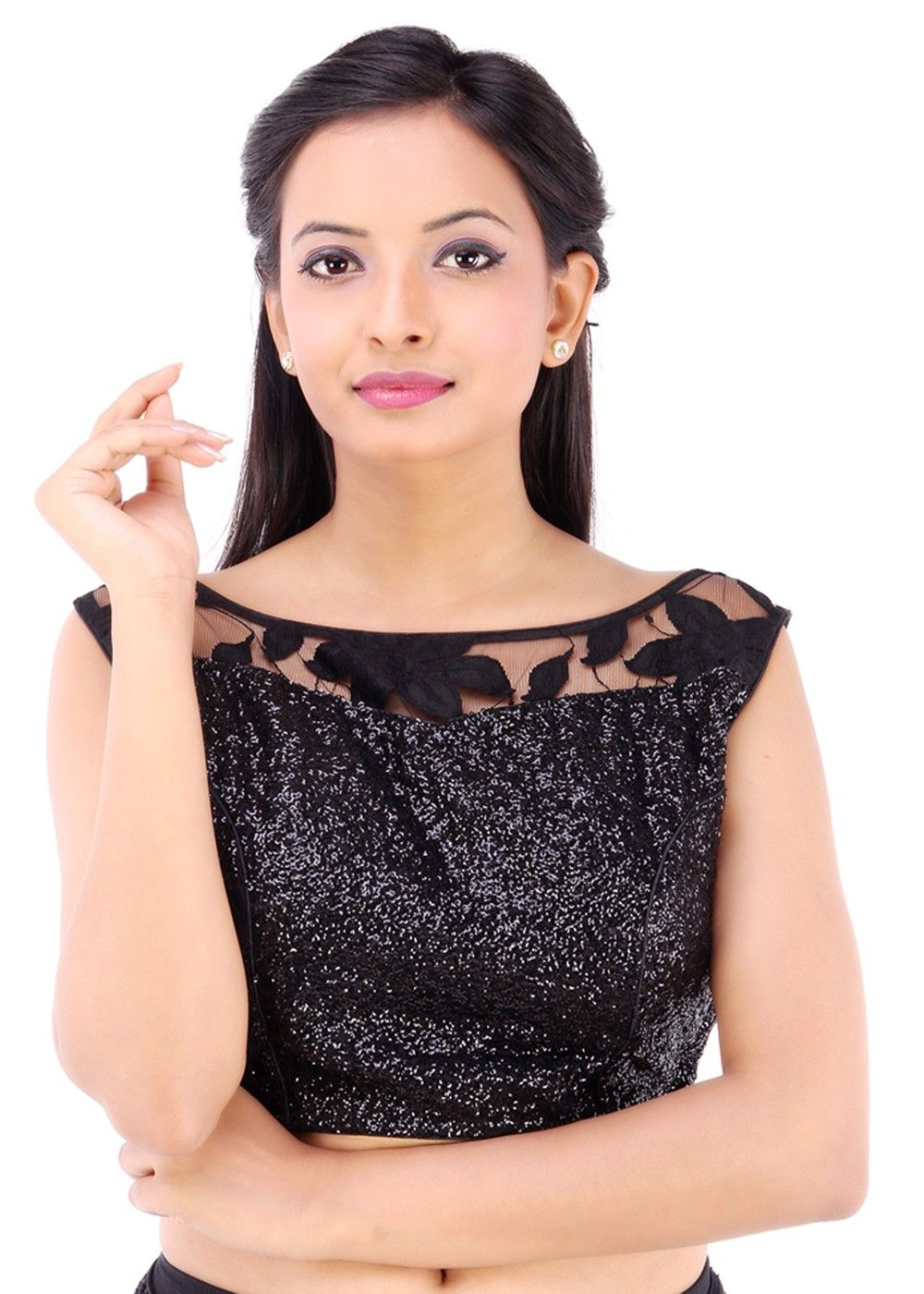 Modern readymade saree readymade black net shimmer blouse  online work blouse online and