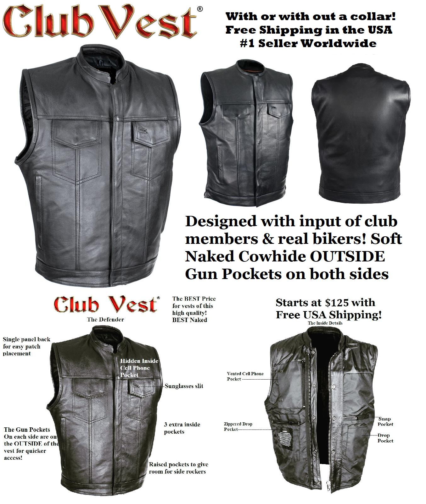 MENS NAKED COWHIDE BLACK LINER /& ZIPPER VEST W// GUN POCKET BY CLUB VEST