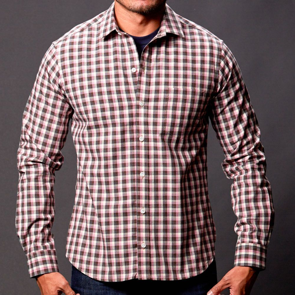 Lavender Grey Heather Check Shirt - Anderson