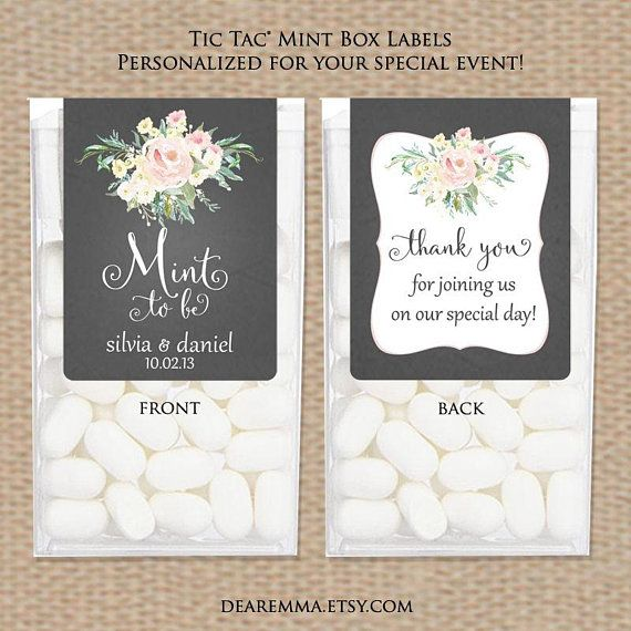 Wedding Favor Stickers For Tic Tac Bo Mint To Be Favors Shower Black Board Wi