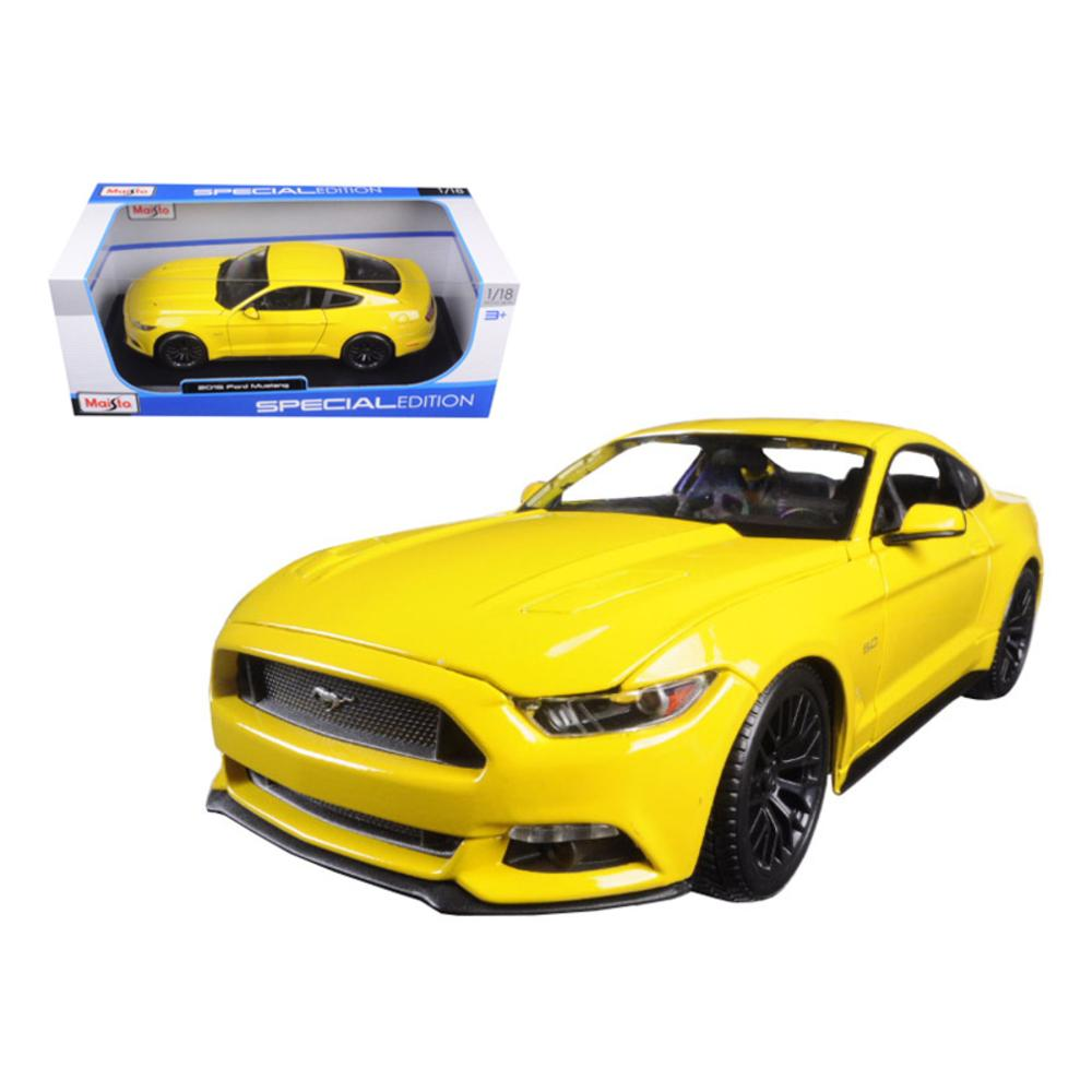 2015 Ford Mustang GT 5.0 Yellow 1/18 Diecast Model Car by Maisto ...