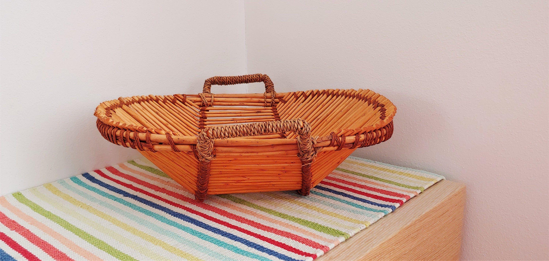 Vintage Bamboo Basket In 2020 Bamboo Basket Basket Vintage