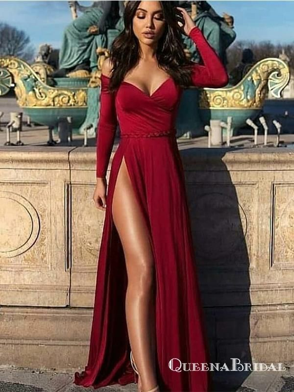 00bb054ff02f0 Sexy Off-Shoulder Long Sleeves Long Burgundy Prom Dresses with Split ...