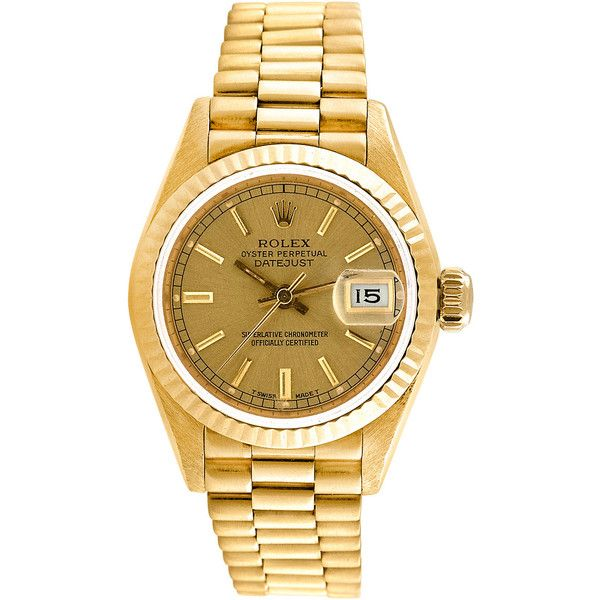 Pre-owned Rolex Watch (21.057.605 COP) ❤ liked on Polyvore featuring jewelry, watches, apparel & accessories, yellow, gold wristwatches, pre owned watches, yellow jewelry, 18 karat gold jewelry and gold jewelry