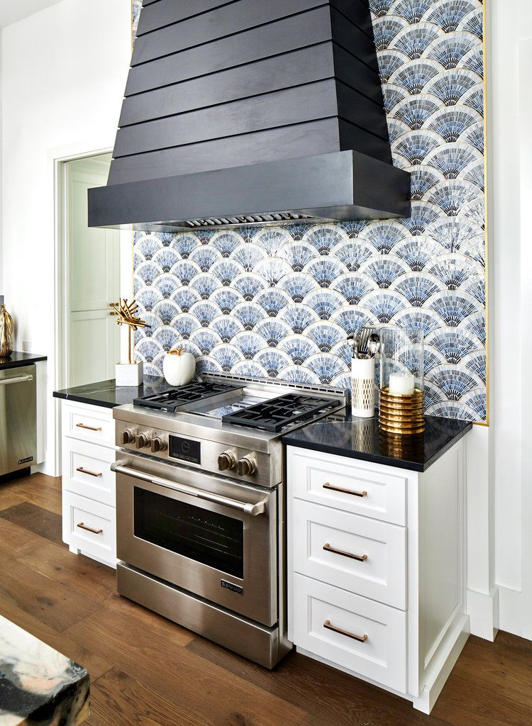 Fan Club Blue Ombre With Brass Kitchen Backsplash Kitchen