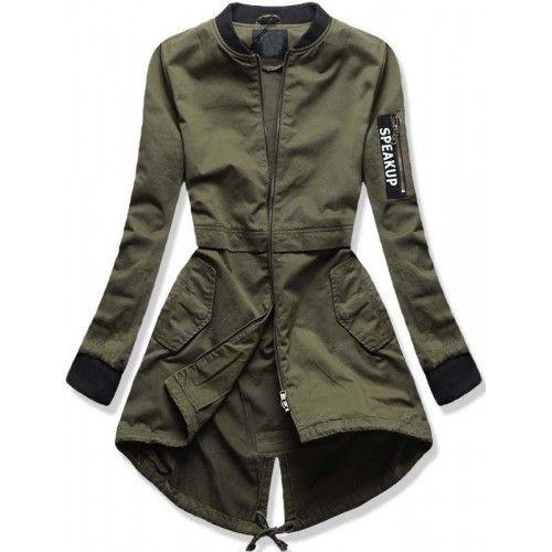 Dámská jarní podzimní bunda Speak zelená AKCE – zelená – dlouhá dámská  bunda typu parka – zapínání na zip – stahovací šňůrka v pase – tři přední  kapsy na ... 9e3205df2b