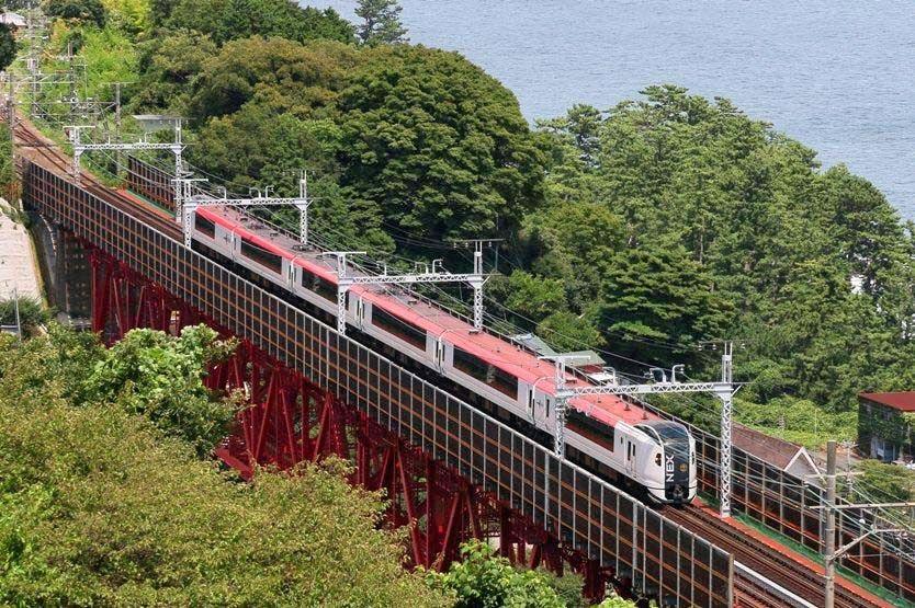 E259系 マリンエクスプレス踊り子79号 東海道本線早川 根府川 白糸川橋梁 14 8 11 列車の旅 鉄道 写真 撮影
