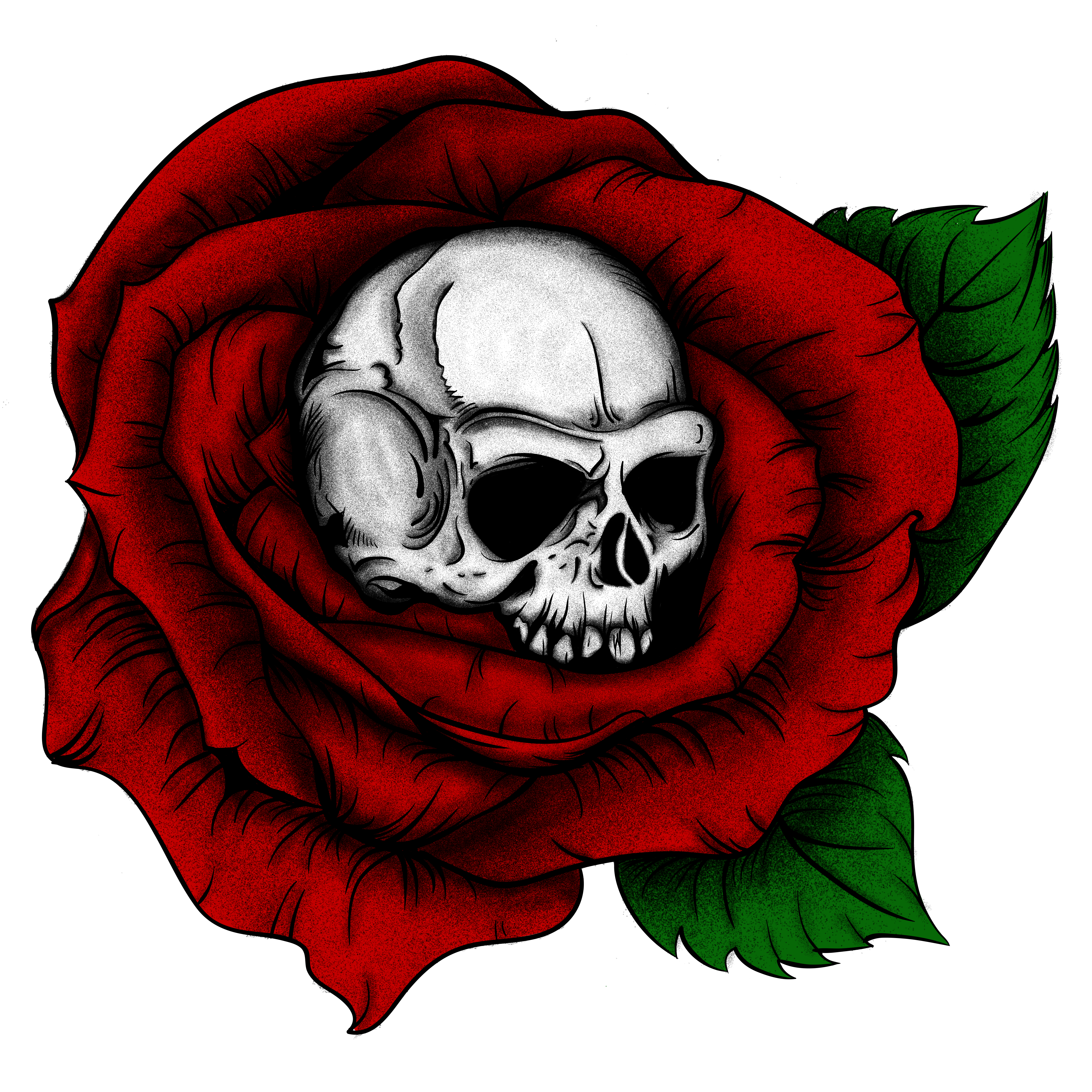 Skulls And Roses In Red Green White With Dot Work Shading Skull Rose Flower Dots Tattoo Art Sketch Graphicdesign L Roses Drawing Art Colour Tattoo