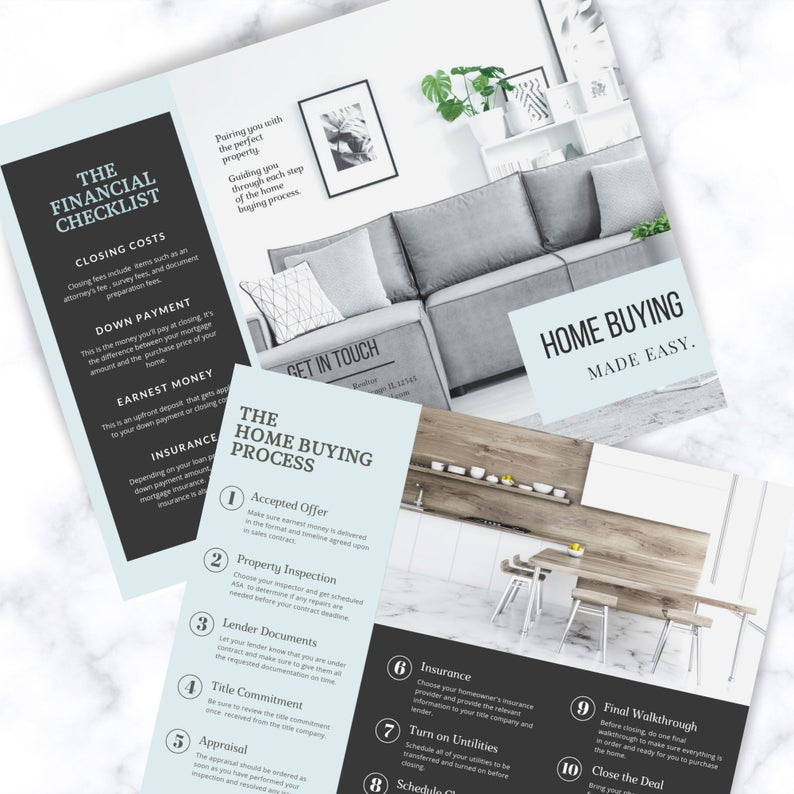 Real Estate Home Buying Made Easy Brochure, Real estate buyer's guide, Two-sided trifold realtor brochure, Real estate marketing, Canva