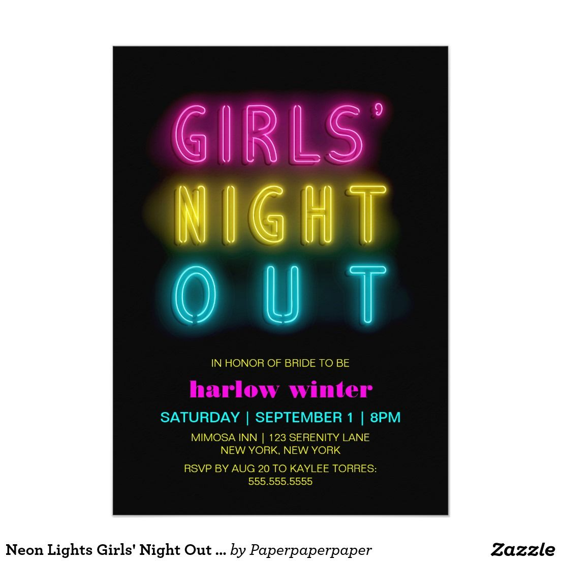 Neon Lights Girls\' Night Out Bachelorette Party Card | Light girls ...