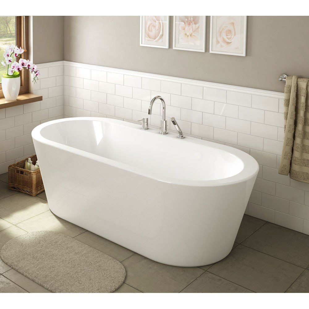 Una Acrylic Double Ended Freestanding Tub Rim Faucet Drillings