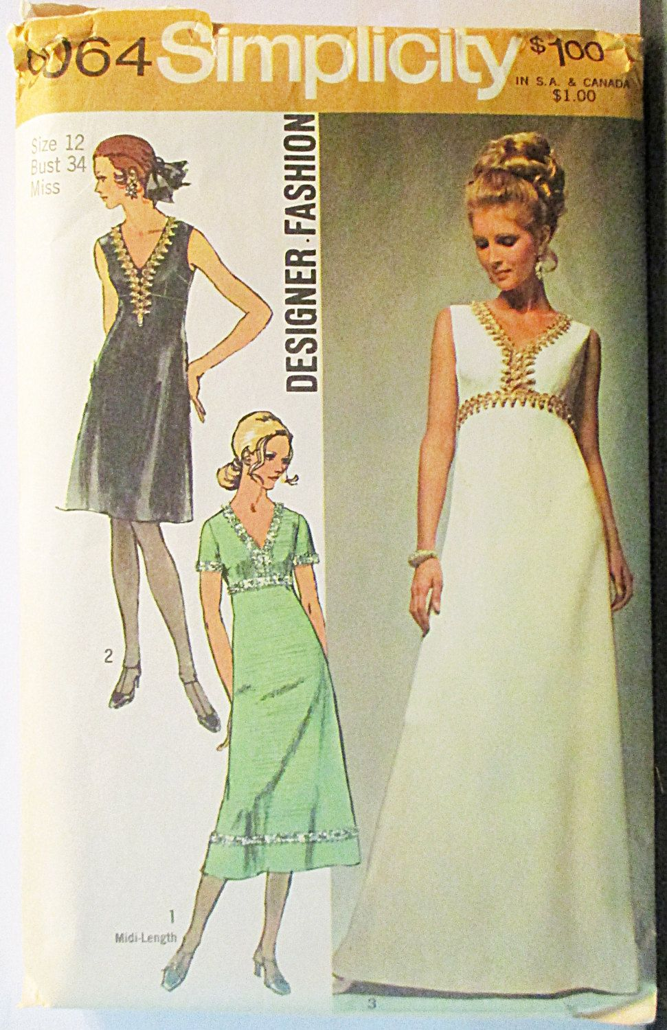 S sewing pattern simplicity misses evening dress pattern