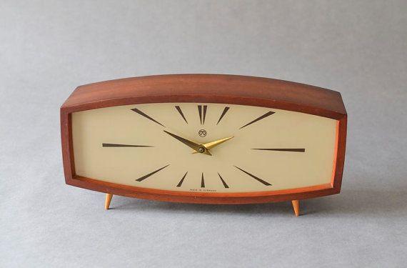 Vintage teak mantle desk clock table clock Weimar GDR East ...