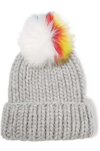 cb35c1f62 Eugenia Kim - Rain faux fur-trimmed cable-knit wool beanie ...