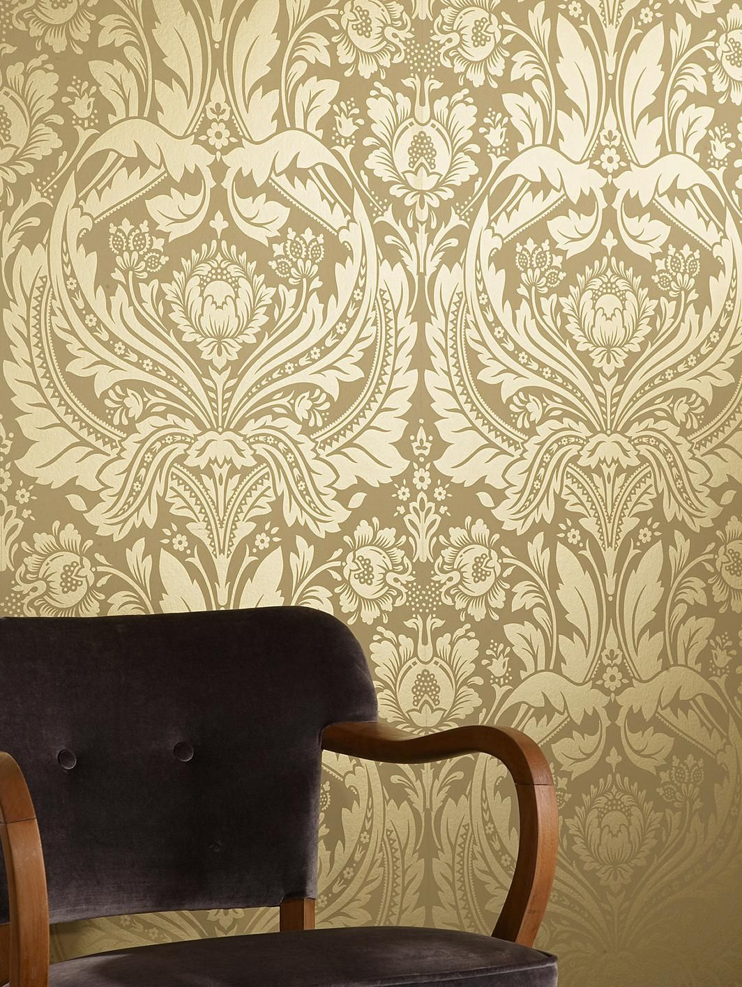 Desire Wallpaper - Mustard/Gold, http://www.very.co.uk/graham-brown ...