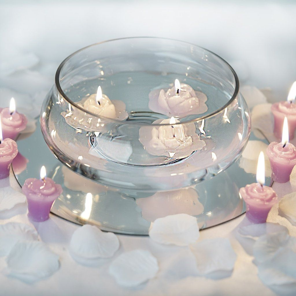 7 Floating Candle Glass Bowls Cheap Wedding Table Centerpieces